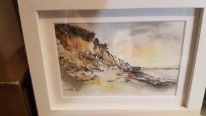 Aquarell Steilküste , Federzeichnung als Grundlage